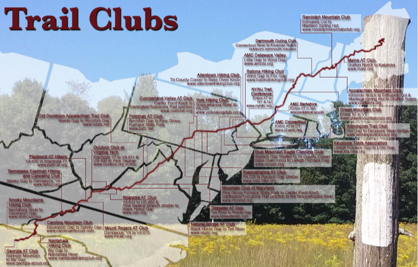 Map of Clubs on the Appalachian Trail